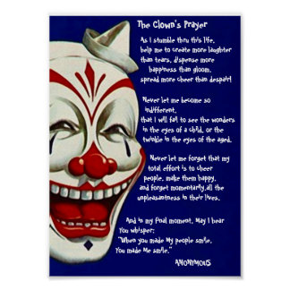 RED, WHITE, & BLUE CLOWN POSTER w/ CLOWN'S PRAYER