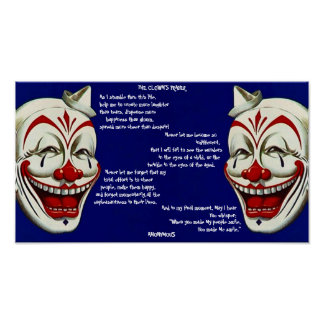 RED, WHITE, & BLUE CLOWNS POSTER w/ CLOWN'S PRAYER