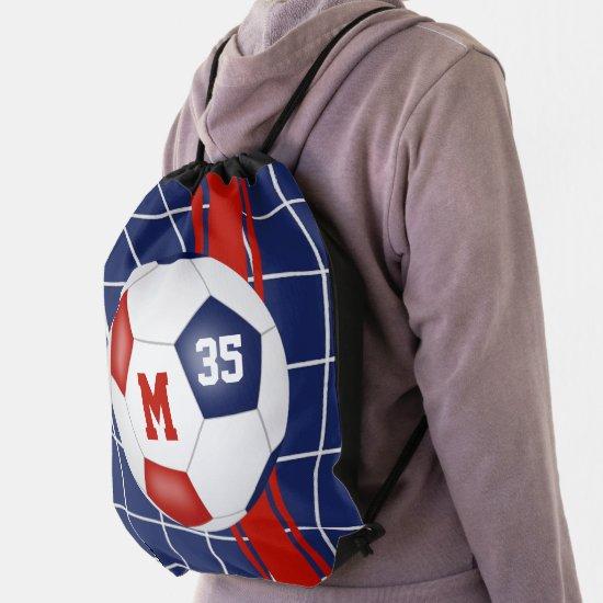 red white blue club team school colors soccer drawstring bag
