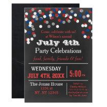 Red White Blue Confetti July 4th party Invitation