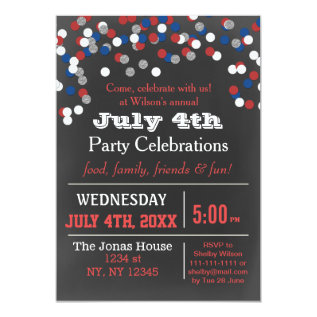 Red White Blue Confetti July 4th Party Invitation at Zazzle