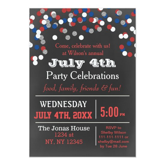 Red White Blue Confetti July 4th party Invitation