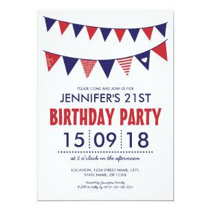 red white blue birthday invitations zazzle