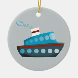 Red White Blue Cruise Ship Double-Sided Ceramic Round Christmas Ornament