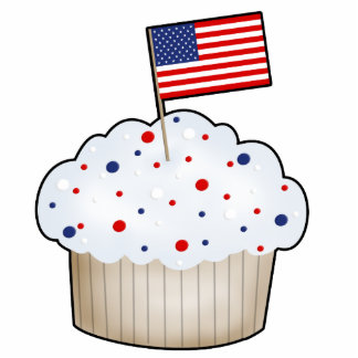 Red, White, Blue Cupcake with Flag Cutout