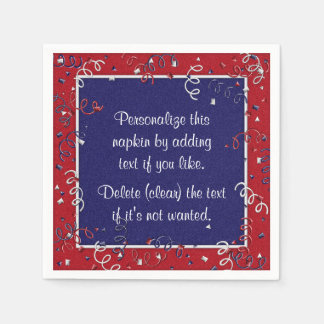 Red White Blue Curly Ribbons,1-Paper Party Napkins