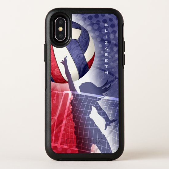 red white blue custom women's volleyball OtterBox OtterBox Symmetry iPhone X Case