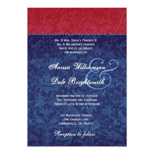Red White Blue Damask Wedding B735 Card