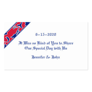 Red, White, & Blue, Damask Wedding Favor Double-Sided Standard Business Cards (Pack Of 100)