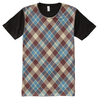 Red, White & Blue Diagonal Plaid All-Over Print Shirt