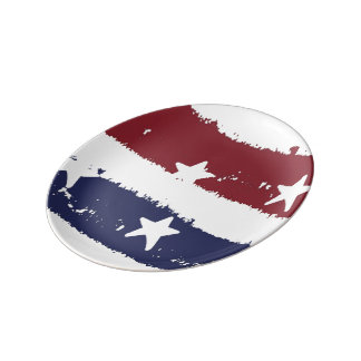 Red, White & Blue Distressed Paint American Plate