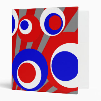 red white blue dots Gray Burst 3 Ring Binders