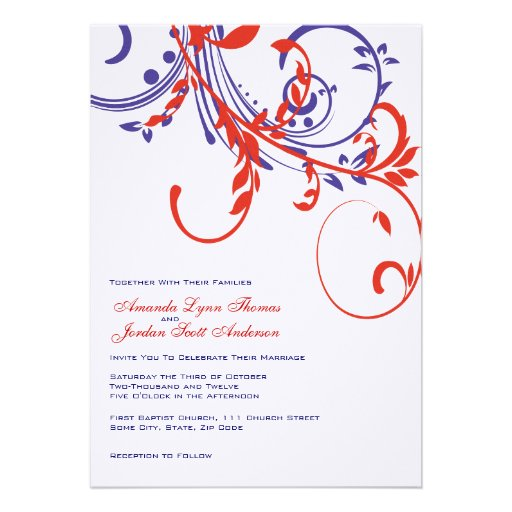 Red, White, Blue Double Floral Wedding Invitation