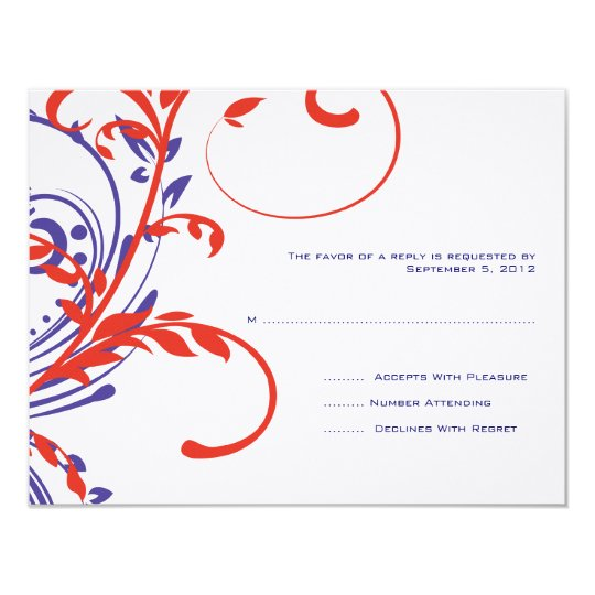 Red, White, Blue Double Floral Wedding RSVP Card