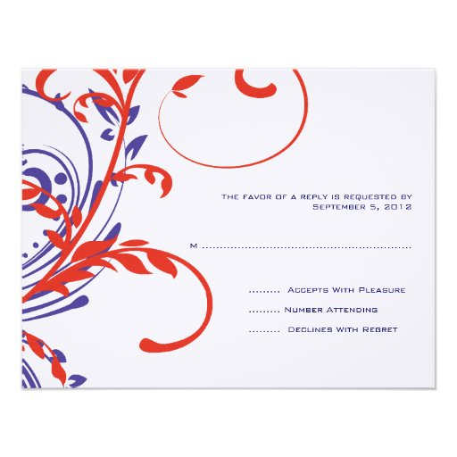 Red, White, Blue Double Floral Wedding RSVP Custom Invitations