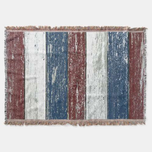 Red White Blue Driftwood Throw Blanket