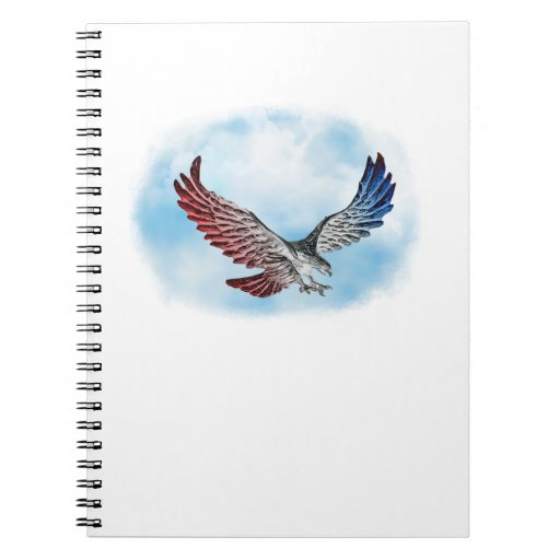 Red White & Blue Eagle in the Clouds Spiral Note Books
