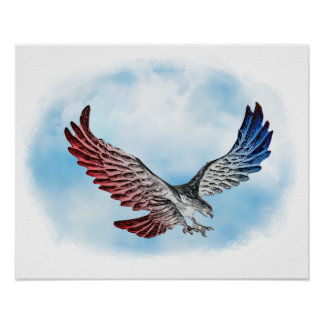 Red White Blue Eagle in the Clouds Poster