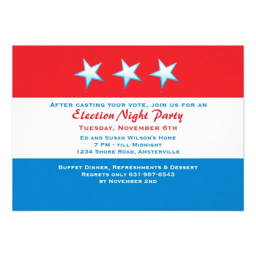 Red, White & Blue Election Day Party Invitation
