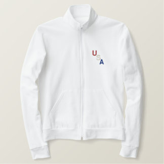 Red White & Blue Embroiderd USA Embroidered Jacket