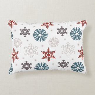 Red White Blue Festive Snowflakes Pattern Accent Pillow