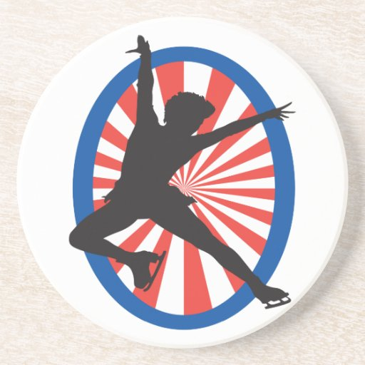 red white blue figure skater silhouette drink coasters