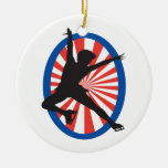 red white blue figure skater silhouette christmas tree ornaments