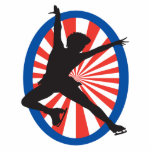 red white blue figure skater silhouette photo cut outs