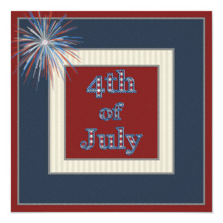 Red White & Blue Fireworks 4th July Party Invites