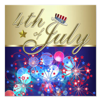 Red White & Blue Fireworks 4th of July Invitations