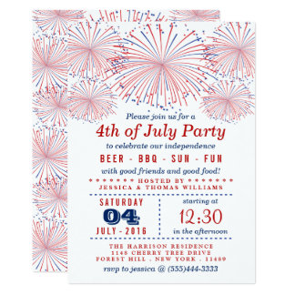 Red, White & Blue Fireworks 4th Of July Party Invitation