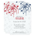 Red White & Blue Fireworks and Stars 4th of July Invitation