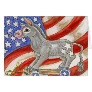 Red White & Blue Flag American Donkey Pull Toy Art Card