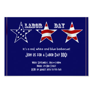 Red White Blue Flag Patterned Stars Labor Day 3.5x5 Paper Invitation Card