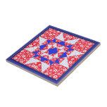 Red White & Blue Floral and Dots Tile