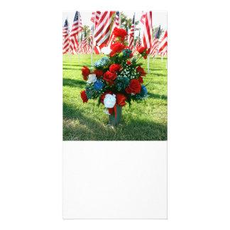 Red White & Blue Floral Arrangement Card