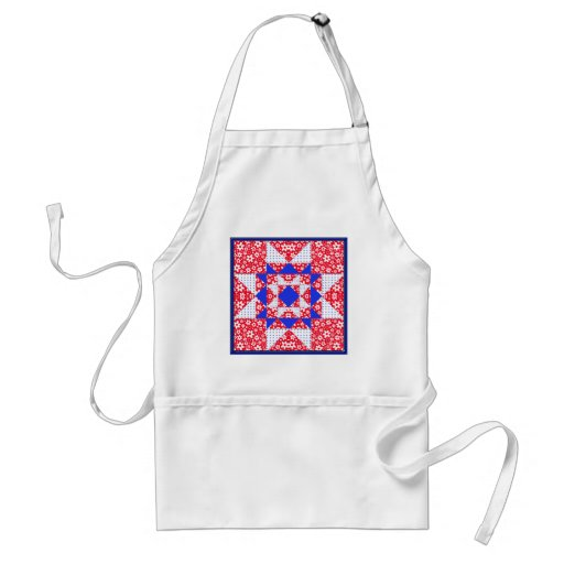 Red White & Blue Floral & Dots Quilt Aprons