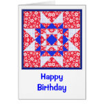 Red White & Blue Floral & Dots Quilt Greeting Cards