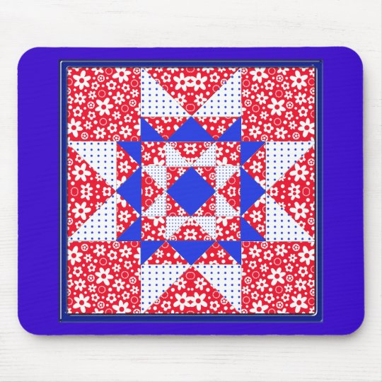 Red White & Blue Floral & Dots Quilt Mouse Pad