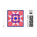Red White & Blue Floral & Dots Quilt Postage