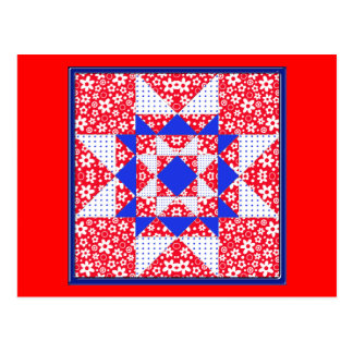 Red White & Blue Floral & Dots Quilt Postcard