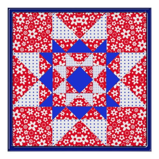Red White & Blue Floral & Dots Quilt Poster