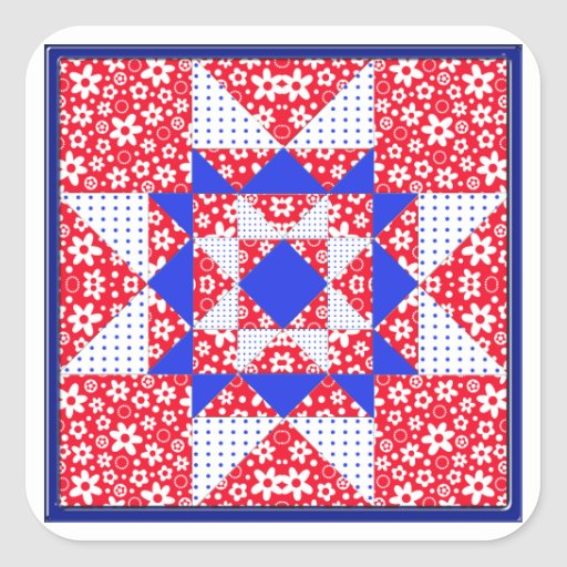 Red White & Blue Floral & Dots Quilt Square Sticker