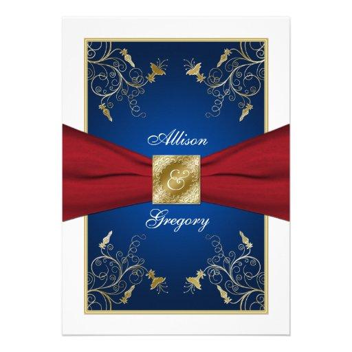 Red White Blue Floral Monogram Wedding Invitation 5 X 7 Invitation Card