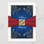 Red White Blue Floral Monogram Wedding Invitation