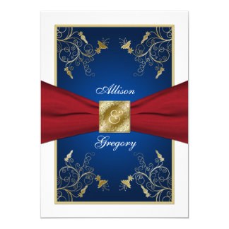 Red White Blue Floral Monogram Wedding Invitation