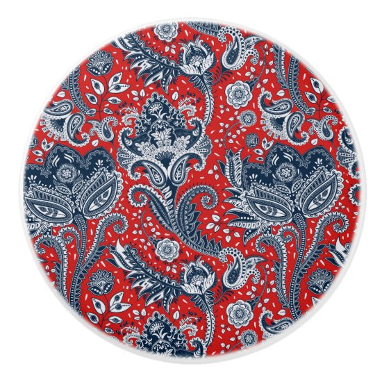 Red White & Blue Floral Paisley Bohemian Boho Ceramic Knob