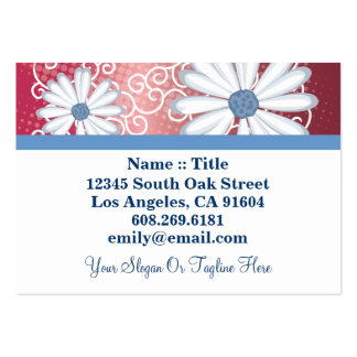 Red White Blue Floral Tribal Daisy Tattoo Pattern Large Business Cards (Pack Of 100)