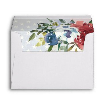 Red White Blue Floral USA Flag Watercolor Wedding Envelope