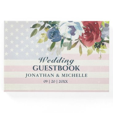 Red White Blue Floral USA Flag Watercolor Wedding Guest Book